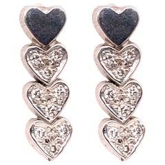 14 Karat Heart Screw Back Earrings with 18 Diamonds