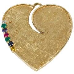14 Karat Heart-Shaped Multi-Stone Pendant
