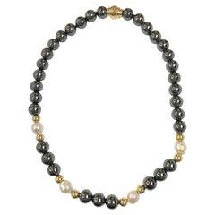 14 Karat Hematite Pearl Magnetic Clasp Necklace