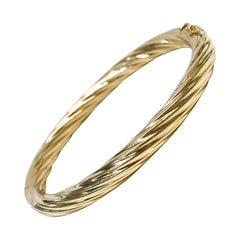 14 Karat Hinged Cable Bangle Bracelet