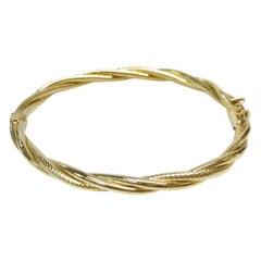 14 Karat Hinged Twisted Bangle Bracelet