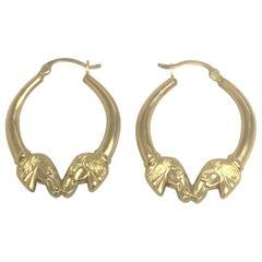 """14 Karat """"Horse Head"""" Hoop Earrings"""
