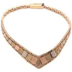 14 Karat Italian Three-Tone Gold Fancy Link Bracelet
