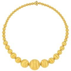 14 Karat Italian Yellow Gold Graduated Textured Bead Necklace