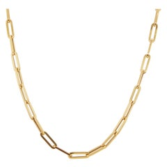 14 Karat Italian Yellow Gold Paperclip Link Chain