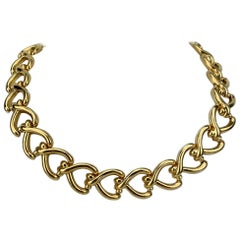 14 Karat Italian Yellow Gold Polished Fancy Heart Link Necklace