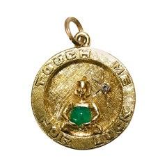 14 Karat Jade Diamond Buddha Pendant