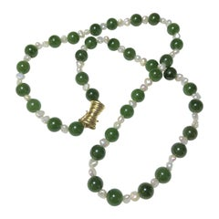 14 Karat Jadeite Pearl Necklace