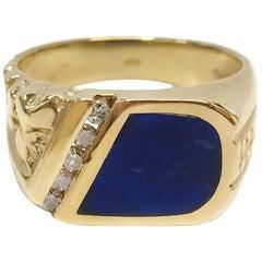 14 Karat Lapis Lazuli Diamond Ring