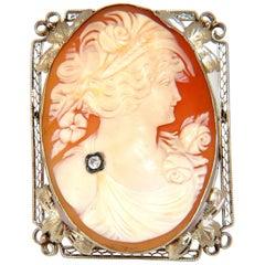 14 Karat Large Cameo Victorian Frame Pendant Brooch Pin