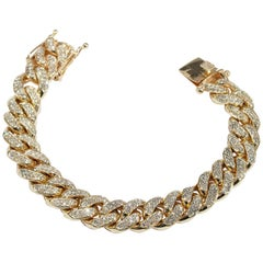 14 Karat Large Diamond Bracelet Curb Link Yellow Gold 9.20 Carat
