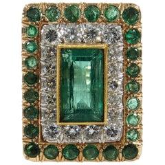 14 Karat Large Diamond Emerald Ring Rectangle Green Yellow Gold