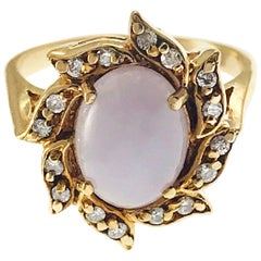 14 Karat Lavender Jade Diamond Ring