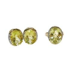 14 Karat Lemon Quartz Diamond Ring and Earrings