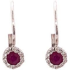 14 Karat Lever Back Pink Topaz with Diamond Earrings