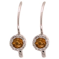 14 Karat Lever Back Yellow Topaz with Diamond Earrings