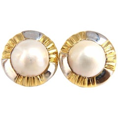 14 Karat Mabe Pearl Clip Earrings