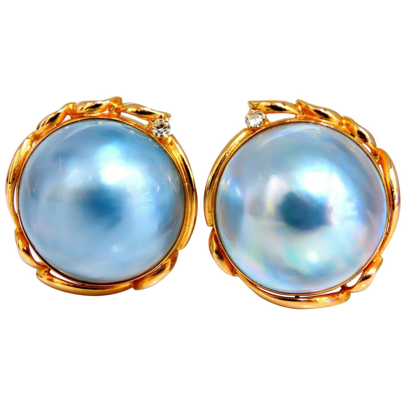 14 Karat Mabe Pearl Clip Earrings Shade Gray Blue