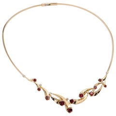14 Karat, Madeira Garnet and Diamond Multi-Comet Necklace
