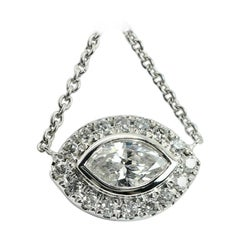 "14 Karat Marquise Cut Diamond Halo ""Evil Eye"" Pendat"