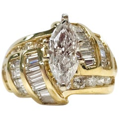 14 Karat Marquise Diamond Ring