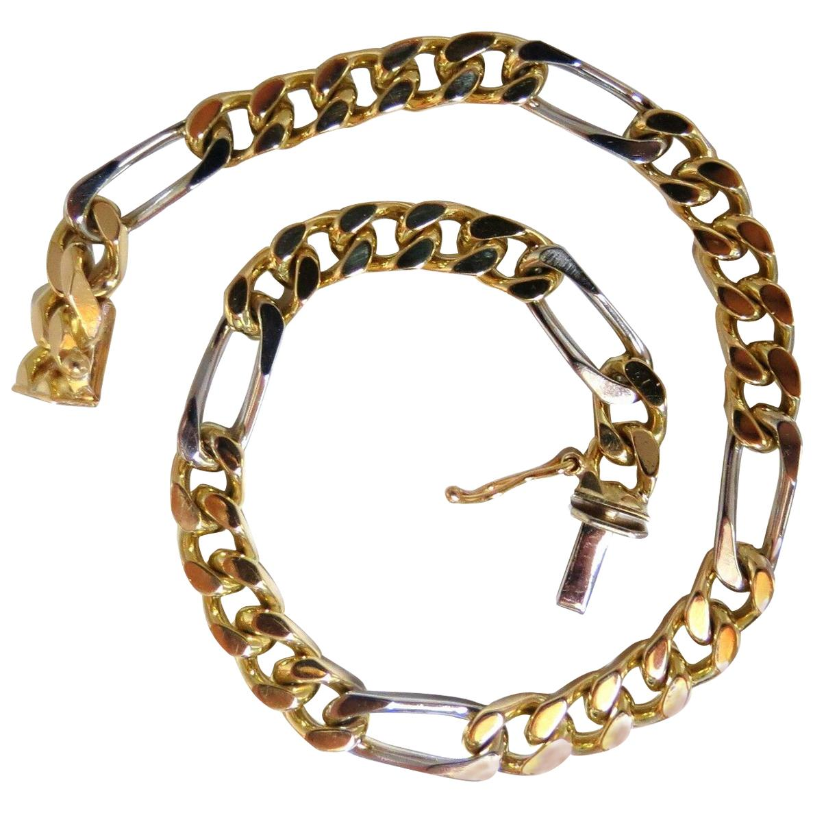 14 Karat Men's Classic Figaro Bracelet