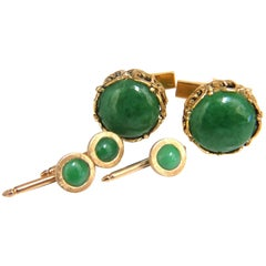 14 Karat Men's Jade Cuff links Shirt Studs Five Piece Set