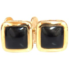 14 Karat Men's Jet Black Onyx Cufflinks