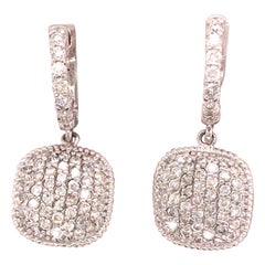 14 Karat Micro Pavé Diamond Cluster Drop Earrings White Gold