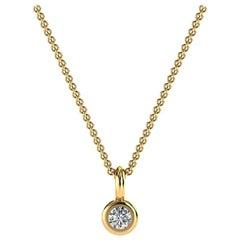 14 Karat Micro Petite Gold Bezel Solitaire Diamond Pendant 'Center 1/20 Carat'