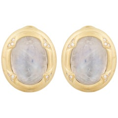 14 Karat Moonstone Diamond Earrings