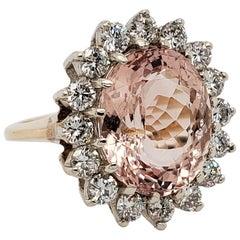 14 Karat Morganite and Diamond Cocktail Ring