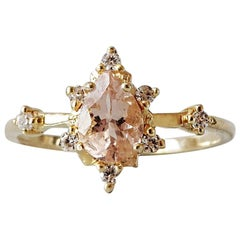 7x5MM Pink Pear Morganite Diamond Yellow Gold Ring