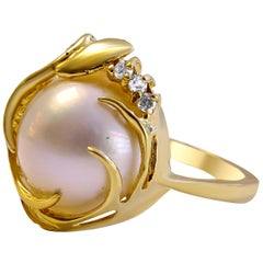 14 Karat Mother of Pearl and Diamond Ladies Ring