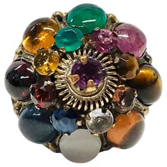 14 Karat Multi-Gemstone Thai Princess Dome Ring