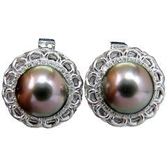 14 Karat Natural Tahitian High Luster Peacock Pearl Diamond Earrings 14 Karat