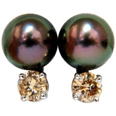 14 Karat Natural Tahitian High Luster Peacock Pearl Fancy Diamond Earrings