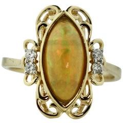 14 Karat Opal and Diamond Ring