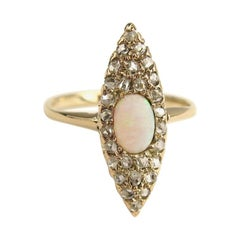 14 Karat Opal & Diamond Navette Victorian Ring