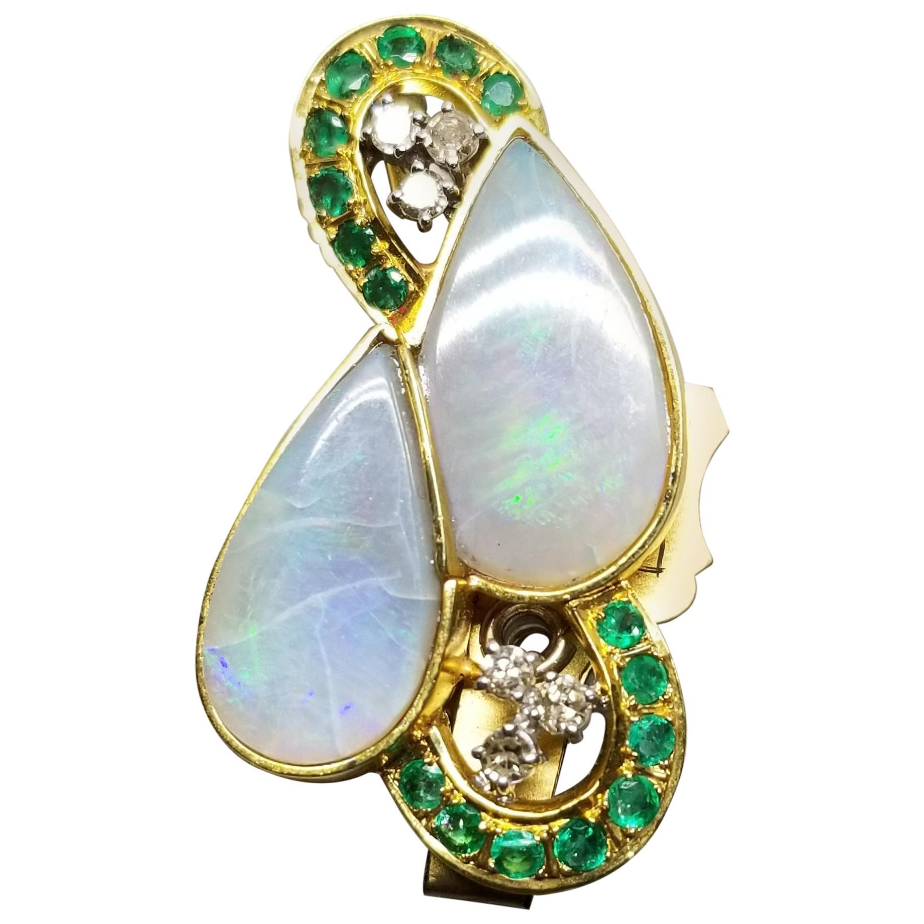 14 Karat Opal Pin/Pendant with Diamonds and Emeralds