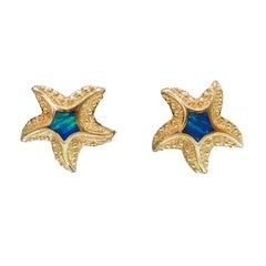 14 Karat Opal Starfish Earrings