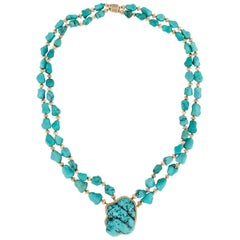 14 Karat or 18 Karat Turquoise Necklace
