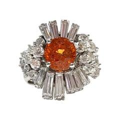 14 Karat Orange Spessartite Garnet Diamond Cocktail Ring