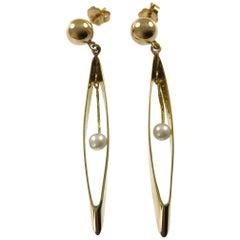 14 Karat Oval Hoop Pearl Drop Earrings