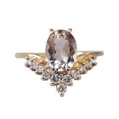 8x6MM Oval Morganite Diamond Yellow Gold Engagement Ring