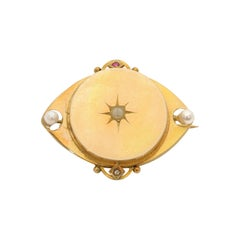 14 Karat Oval Ruby and Diamond Oriental Pearl Brooch