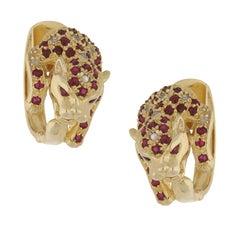 14 Karat Panther Ruby Diamond Hoop Earrings