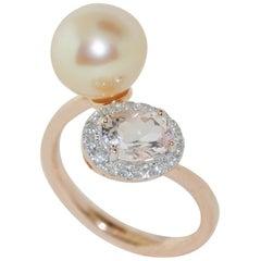 14 Karat Pearl and 0.97 Carat Morganite Diamond Ring