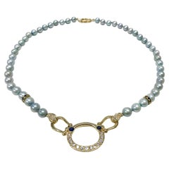 14 Karat Pearl Diamond Sapphire Necklace