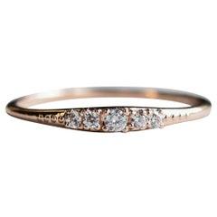 14 Karat Petite Diamond Band, Five Stone Rose Gold Ring